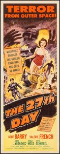 """Movie Posters:Science Fiction, The 27th Day (Columbia, 1957). Insert (14"""" X 36""""). Science Fiction.. ..."""