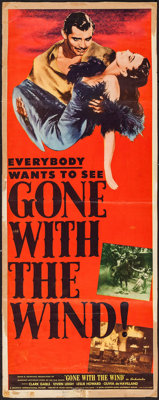 "Gone with the Wind (MGM, R-1947). Insert (14"" X 36""). Academy Award Winners"