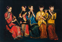 Manner of Chen Yifei (American/Chinese, 1946-2005) Shanghai Ladies Playing Wind Instruments Oil on c