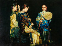Manner of Chen Yifei (American/Chinese, 1946-2005) Three Shanghai Ladies Performing Oil on canvasboa