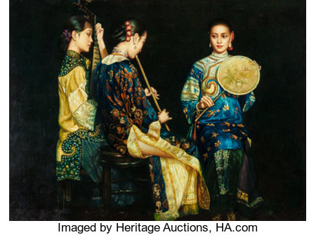Manner of Chen Yifei (American/Chinese, 1946-2005)Three Shanghai Ladies PerformingOil on canvasboard35-1/2 x 47-1/...