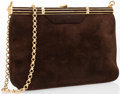 "Luxury Accessories:Bags, Judith Leiber Brown Suede Evening Bag. Good Condition.9.5"" Width x 6.75"" Height x .75"" Depth. ..."