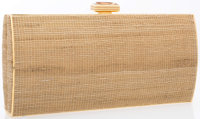 "Judith Leiber Brown Burlap & Crystal Clutch with Gold Hardware Very Good Condition 9"" Width x 4.5"" Hei..."