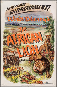 """The African Lion & Other Lot (Buena Vista, 1955). One Sheet (27"""" X 41"""") Lobby Cards (3) (11"""" X 14..."""