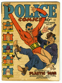 Police Comics #14 (Quality, 1942) Condition: GD. Gill Fox cover. Fox, Will Eisner, Joe Kubert, and Jack Cole art. Overst...