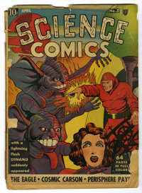 Science Comics #3 (Fox, 1940) Condition: FR. Classic Dynamo cover by Lou Fine. Dick Briefer and George Tuska art. Brittl...
