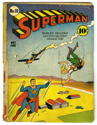 Superman #10 (DC, 1941) Condition: FR. Fifth appearance of Lex Luthor. First time Luthor is bald. Fred Ray cover. Wayne...