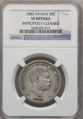 Coins of Hawaii , 1883 50C Hawaii Half Dollar -- Improperly Cleaned -- NGC Details.VF. NGC Census: (5/517). PCGS Population (11/760). Mintag...