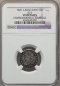 Bust Dimes, 1821 10C Large Date, JR-5, R.3, -- Environmental Damage -- NGCDetails. VF. NGC Census: (0/14). PCGS Population (1/7). Mint...