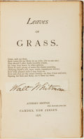 Books:Literature Pre-1900, Walt Whitman. SIGNED. Leaves of Grass. Camden, NJ: [WaltWhitman], 1876....