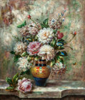 Fine Art - Painting, American:Contemporary   (1950 to present)  , C. Paolini (American, 20th Century). Still Life with Flowers andVase. Oil on canvasboard. 26 x 22-1/2 inches (66.0 x 57...