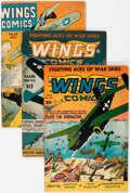 Golden Age (1938-1955):War, Wings Comics 47, 55, and 63 Group (Fiction House, 1944-45) Condition: VG/FN.... (Total: 3 Comic Books)