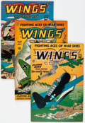 Golden Age (1938-1955):War, Wings Comics #46, 59, and 70 Group (Fiction House, 1944) Condition: Average FN.... (Total: 3 Comic Books)
