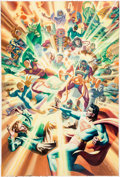 Original Comic Art:Covers, Steve Rude Convergence #6 Variant Cover Painting and LayoutSketch Original Art (DC, 2015).... (Total: 2 Original Art)
