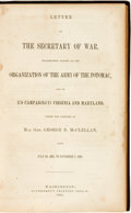 Books:Americana & American History, [American History] [Civil War]. Letter of the Secretary of War,Transmitting Report on the Organizations of the Army of ...