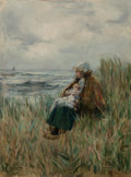 Fine Art - Painting, European:Antique  (Pre 1900), Fokko Tadama (Dutch, 1871-1946). Woman with her Child by theSea. Oil on canvas. 24 x 18 inches (61 x 45.7 cm). Signed l...