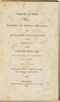 Books:Americana & American History, [Thomas Jefferson]. Charles Carter Lee, editor. Observations onthe Writings of Thomas Jefferson, with Particular Refere...