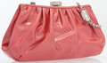 """Luxury Accessories:Accessories, Judith Leiber Pink Patent Leather & Silver Crystal Evening Bagwith Silver Hardware. Very Good Condition. 7"""" Width x 4""""He..."""