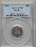 Bust Dimes: , 1834 10C Small 4 VF35 PCGS. PCGS Population (5/185). NGC Census:(9/281). Mintage: 635,000. Numismedia Wsl. Price for probl...
