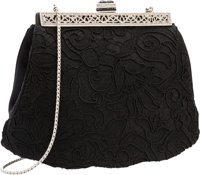 "Judith Leiber Black Lace Evening Bag Excellent Condition 8"" Width x 5.5"" Height x 2"" Depth"