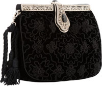 """Judith Leiber Black Embroidered Velvet Evening Bag Excellent Condition 7"""" Width x 5"""" Height x 1.5"""