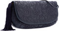 """Luxury Accessories:Bags, Judith Leiber Navy Embroidered Leather Shoulder Bag. Very Goodto Excellent Condition. 13"""" Width x 5.5"""" Height x 3""""De..."""