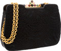 "Judith Leiber Embroidered Black Suede Shoulder Bag Excellent Condition 11"" Width x 7"" Height x 2"""