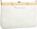 "Luxury Accessories:Bags, Judith Leiber White Leather Clutch Bag. Good to Very Good Condition. 9"" Width x 6"" Height x 1"" Depth. ..."