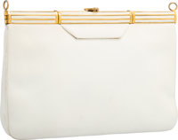 "Judith Leiber White Leather Clutch Bag Good to Very Good Condition 9"" Width x 6"" Height x 1"" Dept"