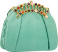 "Luxury Accessories:Bags, Judith Leiber Mint Lizard Evening Bag. Very Good to ExcellentCondition. 9"" Width x 7"" Height x 2"" Depth. ..."