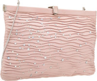 "Judith Leiber Pink Lambskin Leather & Clear Crystal Evening Bag Very Good Condition 9"" Width x 6"""
