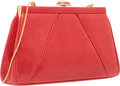 "Luxury Accessories:Bags, Judith Leiber Red Lizard Evening Bag. Very Good to ExcellentCondition. 8.25"" Width x 4.5"" Height x 2"" Depth. ..."