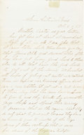 Miscellaneous:Ephemera, Post-Civil War Autograph Letter Signed with News from SanAntonio....