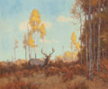 Western, Scott Yeager (American, b. 1965). Autumn Stag. Oil on board . 20 x 23-3/4 inches (50.8 x 60.3 cm). Signed lower right: ...