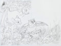 Animation Art:Production Drawing, Bambi Bambi, Thumper, Owl, and Flower Children's BookIllustration Original Art Group of 4 (Walt Disney, 1970s)....(Total: 4 Original Art)