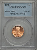 Proof Lincoln Cents, 1988-S 1C PR70 Deep Cameo PCGS. PCGS Population (189). NGC Census: (33). Numismedia Wsl. Price for problem free NGC/PCGS c...