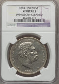 Coins of Hawaii , 1883 $1 Hawaii Dollar -- Improperly Cleaned -- NGC Details. XF. NGCCensus: (63/293). PCGS Population (169/460). Mintage: 4...