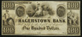Obsoletes By State:Maryland, Hagerstown, MD- Hagerstown Bank $100 18__ Remainder . ...