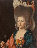 Fine Art - Painting, European:Antique  (Pre 1900), Follower of Alexander Roslin. Portrait of a Lady with her HairAdorned with Flowers, Holding a Mask. Oil on canvas. 31-1...