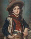 Fine Art - Painting, European:Antique  (Pre 1900), Virginie Dautel (French, 1803-1861). Gypsy Boy. Pastel onpaper laid on canvas. 27-1/2 x 22-1/2 inches (69.9 x 57.2 cm) ...
