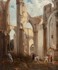 Fine Art - Painting, European:Antique  (Pre 1900), Follower of Richard Parkes Bonington. A View of the Ruins ofAbbey of St. Bertin, St. Omer, France, with a Duel TakingPla...