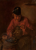Fine Art - Painting, European:Antique  (Pre 1900), Manner of Adriaen Brouwer. Portrait of a Laughing Man. Oil on tin. 6-1/4 x 5-1/4 inches (16.0 x 13.5 cm). ...