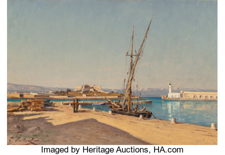 Léon Joubert (French, 1876-1920) European Harbor Oil on canvas 11 x 16-1/4 inches (27.9 x 41.3 cm) Signed lower left...
