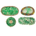 Estate Jewelry:Lots, Lot of Jadeite Jade, Enamel, Gold, Silver, Base Metal Brooches. ... (Total: 4 Items)