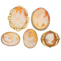 Estate Jewelry:Lots, Lot of Shell Cameo, Seed Pearl, Gold, Base Metal Brooches. ... (Total: 5 Items)