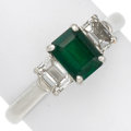 Estate Jewelry:Rings, Emerald, Diamond, Platinum, White Gold Ring. ...
