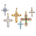 Estate Jewelry:Lots, Lot of Diamond, Multi-Stone, Gold Pendants. ...