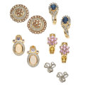 Estate Jewelry:Lots, Lot of Multi-Stone, Diamond, Colored Diamond, Gold Earrings. ...