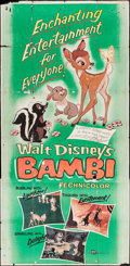 "Movie Posters:Animation, Bambi (Buena Vista, R-1957). Three Sheet (41"" X 80""). Animation....."