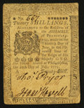 Colonial Notes:Pennsylvania, Pennsylvania July 20, 1775 20s Very Fine-Extremely Fine.. ...